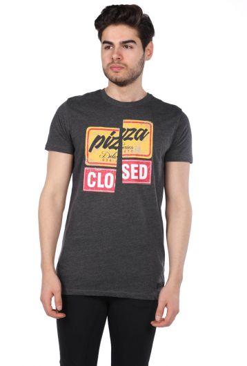 Colorful Printed Men's Crew Neck T-Shirt - Thumbnail