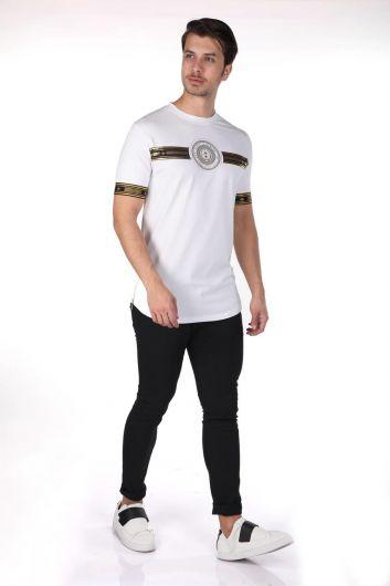 Men's Printed Crew Neck T-Shirt - Thumbnail