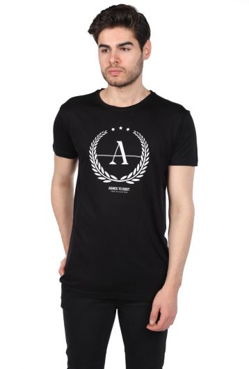 Men's Crew Neck T-Shirt with Ashes To Dust Print - Thumbnail