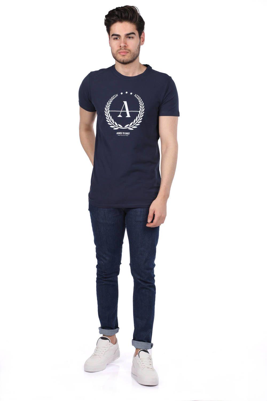 Мужская футболка с круглым вырезом и принтом Ashes To Dust