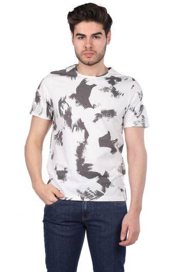 Пятнистая мужская футболка с круглым вырезом - Thumbnail