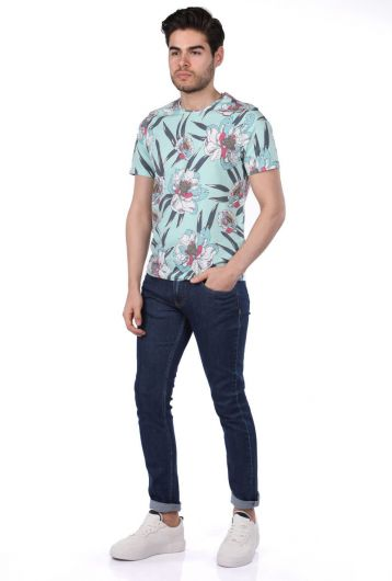 Men's Floral Pattern Crew Neck T-Shirt - Thumbnail