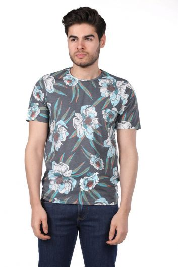 PHAZZ - Men's Floral Pattern Crew Neck T-Shirt (1)