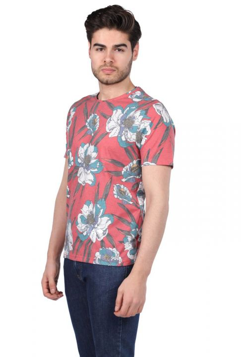 Men's Floral Pattern Crew Neck T-Shirt