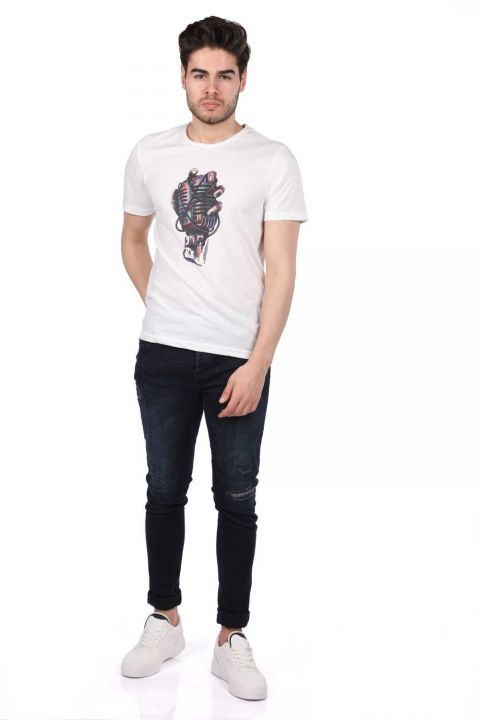 Microphone Printed Men's Crew Neck T-Shirt