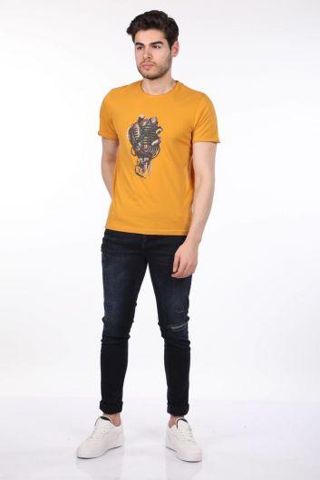 Microphone Printed Men's Crew Neck T-Shirt - Thumbnail