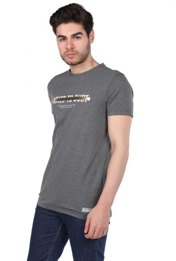 Мужская футболка стандартного кроя с круглым вырезом - Thumbnail