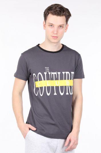 Мужская футболка с круглым вырезом и принтом антрацитового цвета Couture - Thumbnail