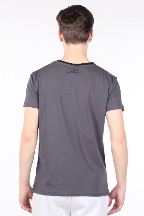 Мужская футболка с круглым вырезом и принтом антрацитового цвета Couture