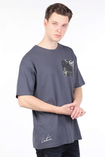 Мужская футболка антрацитового цвета с круглым вырезом - Thumbnail