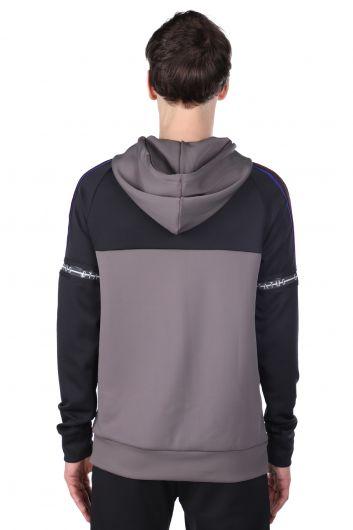Men's Anthracite Piece Hoodie Sweatshirt - Thumbnail