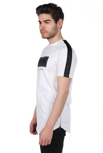 Printed Zippered Men's White Crew Neck T-Shirt - Thumbnail