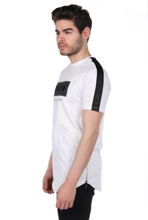 Printed Zippered Men's White Crew Neck T-Shirt