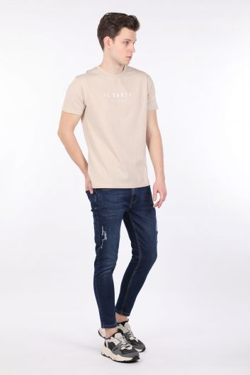 Men's Beige Crew Neck T-shirt - Thumbnail
