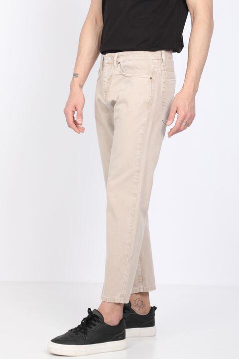 Men's Beige Mid Waist Jean Trousers