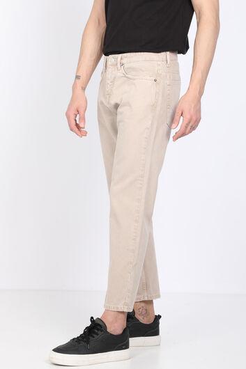BLUE WHITE - Мужские бежевые джинсовые брюки со средней талией (1)