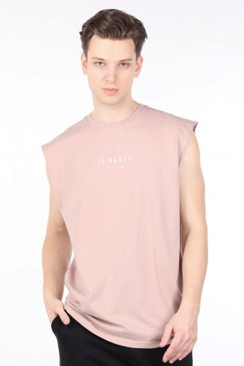 Men's Beige Sleeveless Crew Neck T-shirt - Thumbnail