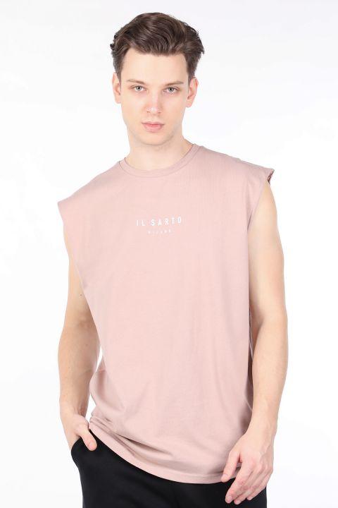 Мужская бежевая футболка с круглым вырезом без рукавов