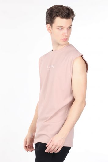 IL SARTO - Мужская бежевая футболка с круглым вырезом без рукавов (1)