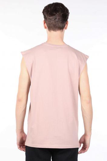 Мужская бежевая футболка с круглым вырезом без рукавов - Thumbnail
