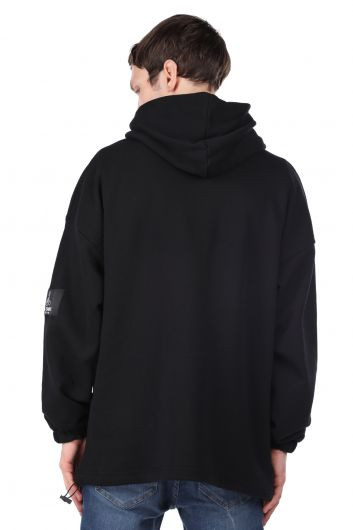 كنزة بغطاء للرأس سوداء بطبعة رائد فضاء للرجال - Thumbnail