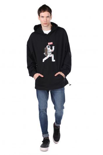 Men's Black Astronaut Print Hoodie Sweatshirt - Thumbnail