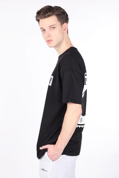 Men's Black Back Burna Oversized Printed Crew Neck T-shirt
