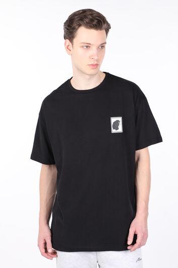 Мужская черная футболка с круглым вырезом и принтом на спине Burna - Thumbnail