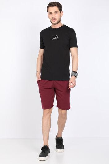 Мужская черная футболка с круглым вырезом и принтом на спине - Thumbnail