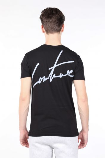 Men's Black Printed Back Crew Neck T-shirt - Thumbnail