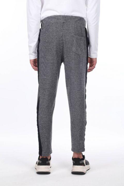 Men's Black Checkered Side Striped Sweatpants