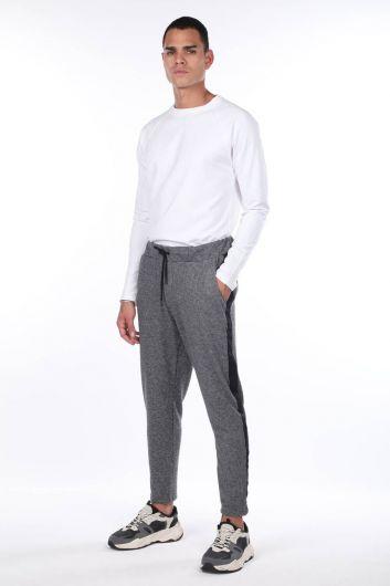 Men's Black Checkered Side Striped Sweatpants - Thumbnail