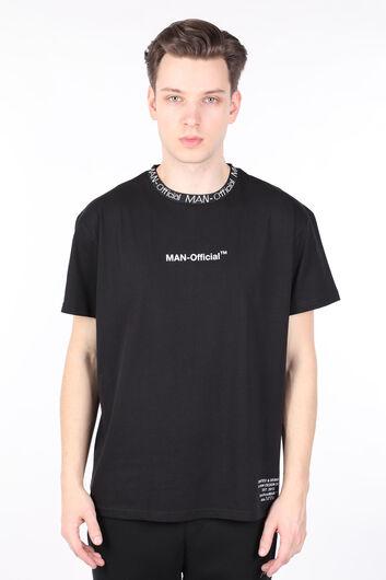 Мужская футболка с круглым вырезом и черным воротником с буквенным принтом - Thumbnail