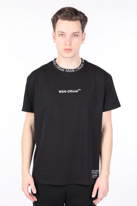 Мужская футболка с круглым вырезом и черным воротником с буквенным принтом