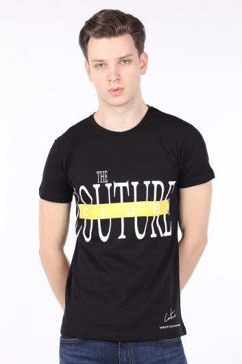 Men's Black Couture Printed Crew Neck T-shirt - Thumbnail