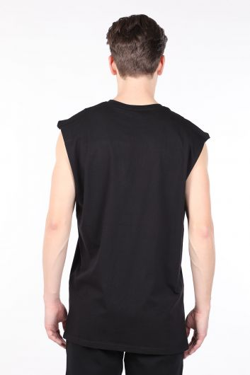 Мужская черная футболка без рукавов с круглым вырезом - Thumbnail