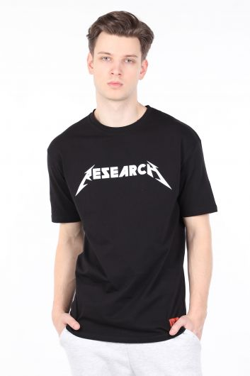Men's Black Crew Neck T-shirt - Thumbnail