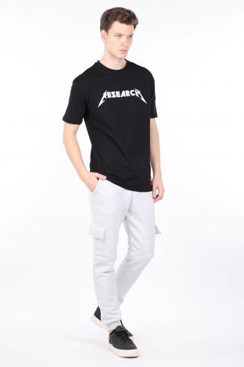 Мужская черная футболка с круглым вырезом - Thumbnail