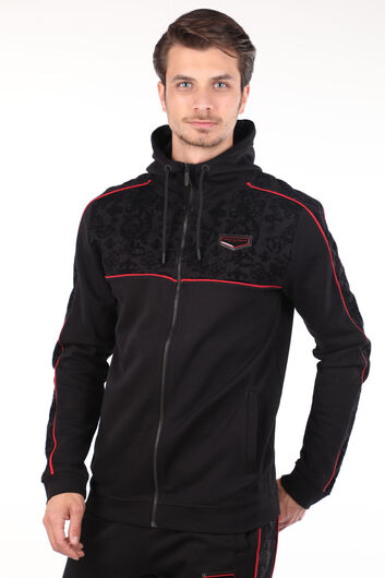 Men's Black Embossed Pattern Hoodie Sweatshirt - Thumbnail
