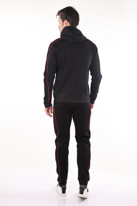 Men's Black Embossed Pattern Hoodie Sweatshirt