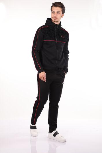 Толстовка мужская черная с капюшоном с тиснением - Thumbnail
