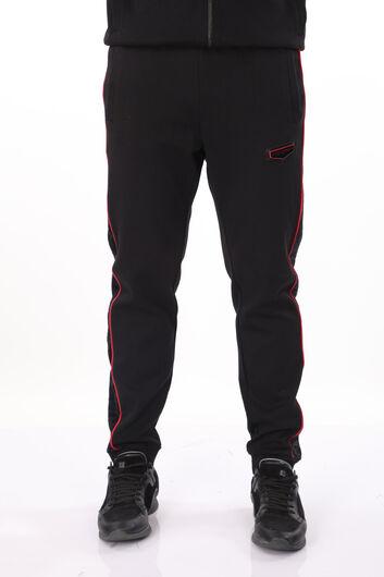 Мужские черные спортивные брюки с тисненым узором - Thumbnail