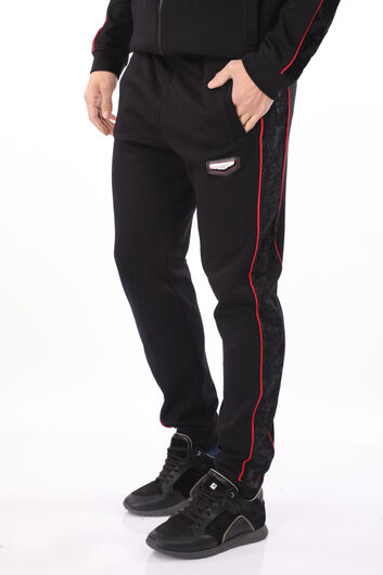 MARKAPIA MAN - Men's Black Embossed Patterned Sweatpants (1)
