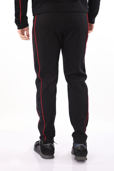 Men's Black Embossed Patterned Sweatpants