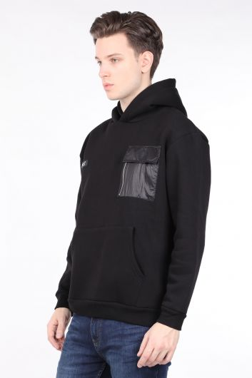 MARKAPIA - Men's Black Raised Hooded Sweatshirt with Pocket (1)
