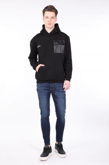 Men's Black Raised Hooded Sweatshirt with Pocket - Thumbnail