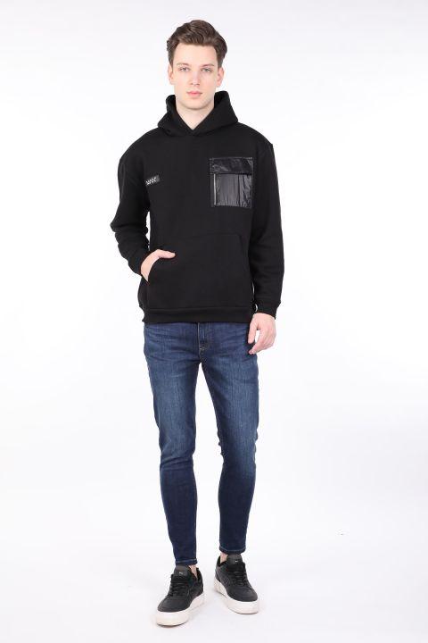 Men's Black Raised Hooded Sweatshirt with Pocket