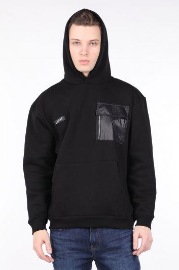 Мужская черная толстовка с капюшоном и карманом - Thumbnail