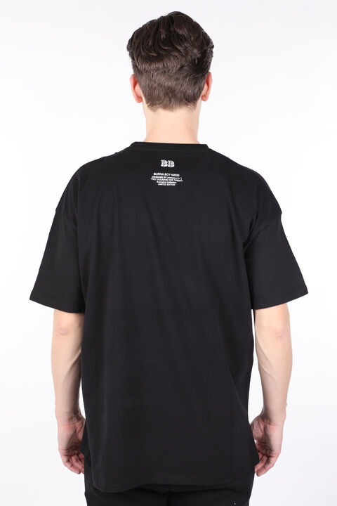 Men's Black Burna Oversized Printed Crew Neck T-shirt