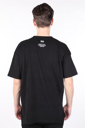 Мужская футболка оверсайз с круглым вырезом с принтом Burna Black - Thumbnail